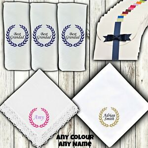 Personalised Gift Handkerchief Hanky White 100% Cotton - Any Name