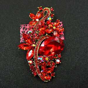 New Betsey Johnson Shiny Red Enamel Crystal Exquisite Flower Charm Brooch Pin