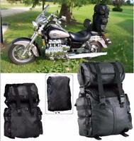 Double sac rool bag en cuir pour sissi-bar moto custom harley dragstar shadow VN