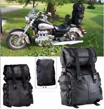 Double sac rool bag en cuir pour sissi-bar moto custom harley dragstar shadow VN