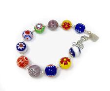 Murano Glass Millefiori Bead Bracelet - Womens Jewelry Made In Italy
