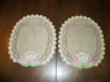 ART DECO CHIC EMBROIDERED LINEN DOILY SET WATER LILY ANTIQUE NICE LACE COTTAGE