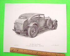 """HAND SIGNED & #'d """"THE BLUE TRAIN BENTLEY"""" LITHO by L.R. DANIELS Gorgeous XLNT"""