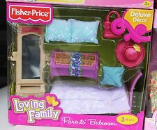 NEW FISHER PRICE LOVING FAMILY DOLLHOUSE DOLL PARENT MOM DAD BEDROOM BED MIRROR