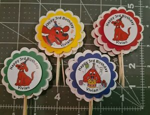Clifford the Big Red Dog Party Cupcake Toppers Personalized Birthday handmade