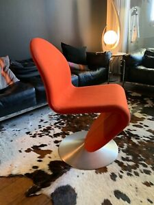 Panton System 123 Dining Chair by Verpan, Round Base Red-Orange Hallindal Fabric