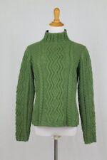 Paul James Kelly Green Aran Fisherman Pull Sweater Made in England Small