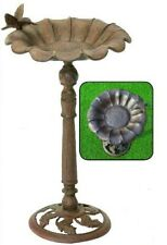 CAST IRON metal Flower Birdbath Outdoor Lawn & Garden Patio Bird Bath Basin