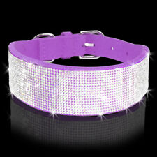4/5cm Wide Bling Rhinestone Suede Medium Dog Collars Diamante Pink Purple Black