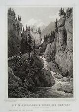 Rofflen Felsengalerie   Graubünden   Schweiz  echter alter Stahlstich 1850