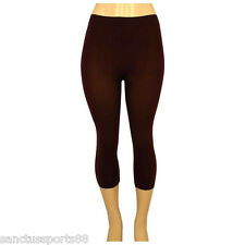 SEAMLESS CAPRI PANTS STRETCH BROWN SPANDEX TIGHT LEGGING PLUS SIZE XL XXL XXXL