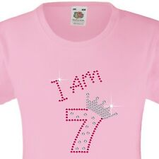 "Girl's Birthday T-Shirt ""I am 7"" Rhinestone Embellished Beautiful Surprise Gift"