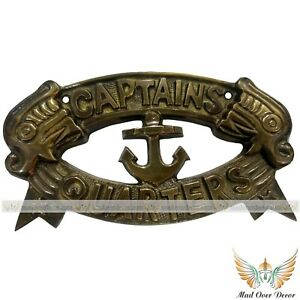 "VINTAGE BRASS ANTIQUE WALL HANGING ANCHOR ""CAPTAIN QUARTERS"" COLLECTIBLE DECOR"