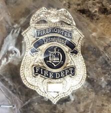 Disneyland Fire Department Cast Member Firefighter Badge Tie Tac Pin Rare Nib