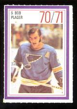 1970-71 ESSO POWER PLAYERS NHL #5 BOB PLAGER EX-NM ST LOUIS BLUES UNUSED STAMP
