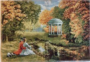 Gobelin Tapisserie Tapestry Paneele Textilbild Pavillon Landschaften Bild 50x34