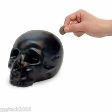 Skull Money Box Black Bank Piggy Gift Coin Saving Gothic Goth Ceramic Quality