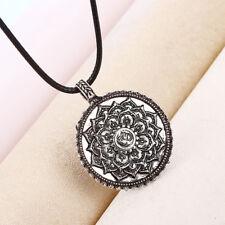 Retro Tibet Yoga Mandala Amulet Lotus Meditation Pendant Necklace Jewelry vO