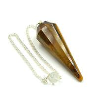 40-50 MM Natural Tiger Eye 12 Facet Reiki Healing Dowsing Pendulum With Chain