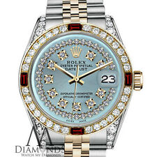 Rolex 36mm Datejust 2 Tone 18K Ice Blue String Diamond Ruby Bezel Classic Watch