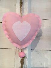 Fabric Shabby Chic Hanging Heart Nursery Blush Pink White Door Hanger X 1