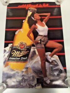 """Vintage Miller Genuine Draft Cold Filtered Beer Is Hot Poster 20/30"""""""