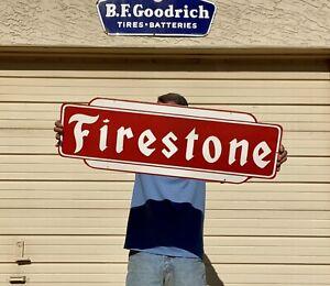 "Large Porcelain Firestone Tire Sign 36"" Heavy Steel Garage Shop Man Cave"
