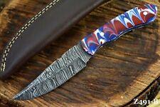 Custom Damascus Steel Hunting Knife Handmade With Resin Handle (Z491-B)