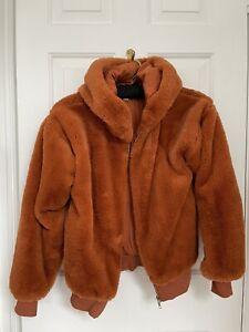 Topshop Burnt Orange Faux Fur Bomber Jacket With Zip  In Women's Size XS/S