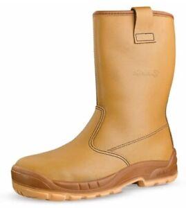 Mens Womens Jallatte Jalaska Rigger Safety Boots Steel Toe Cap Tan Leather J0266