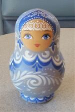 Russian Matryoshka Nesting Doll Snow Queen of Baikal Signed Dated 5 Pieces