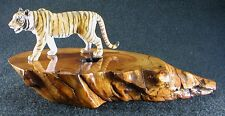 Tiger Figurine on Handcrafted Madrone Wood Base