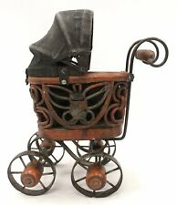 Vintage Small Wooden TOY PRAM Push Chair Stroller With Metal Wheels  - Z01