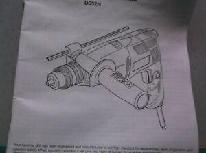 Ryobi d522h1/2 Hammer Drill Operators Manual Only