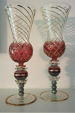 Mackenzie-Childs Aerial Champagne/Wine Flutes Set of 2 Retired