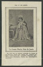 Estampa antigua de la Beata Maria andachtsbild santino holy card santini