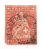 .SWITZERLAND 1854 - 1862 15R IMPERF. G to VG USED HINGED CLASSIC STAMP.