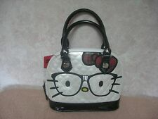HELLO KITTY WHITE QUILTED DOME PURSE NERD WITH GLASSES PLAID BOW LOUNGFLY SANRIO