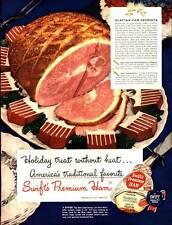 VINTAGE PRINT AD 1948 DOUBLE SIDED SWIFT'S PREMIUM HAM KRAFT MAYONNAISE