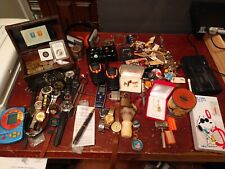 HUGE! Vintage to Now Junk Drawer Lot watches, jewelry 14k some silver coins L@@K