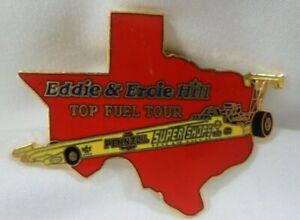Eddie & Ercie Hill Top Fuel Tour Pennzoil Texas Vintage Racing Funny Car Hat Pin