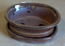 "Lovely Bonsai Pot & Attached Saucer  Small 4"" long NEW, Burnt Red / Orange Oval"
