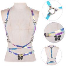 Unisex Punk Vinyl PVC Body Hologram Caged Harness Waist Belts Straps Clubwear