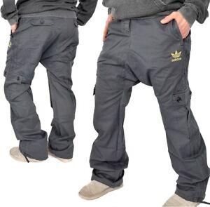 Adidas Pz. Military Pantaloni Donna Cargo Baggy Army Boyfriend Jeans Grigio Nero