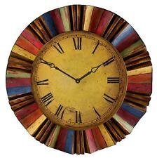 Vintage Clocks for Walls Sunburst Wall Clock Oversized Antique Aged Face 30 Inch