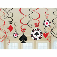 Amscan Casino Hanging Swirl Party Decorations x12