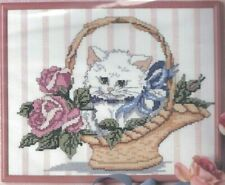CAT IN BASKET COUNTED CROSS STITCH EMBROIDERY KIT by CANDAMAR # 60473 SEALED
