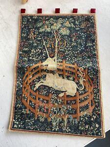 "Unicorn Metropolitan Museum Embroidery Tapestry 1974 Mazaltov 22"" VGC COMPLETE"