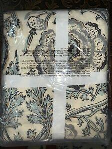 NWT Pottery Barn Haylie printed organic shower curtain, ivory gray multi