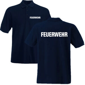 FEUERWEHR Poloshirt Polo Shirt beidseitg bedruckt S - 3XL 7 Druckfarben S1